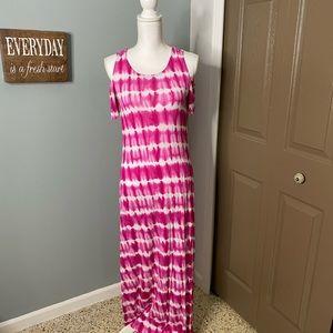 Tie Dye Pink Cold Shoulder Maxi Dress